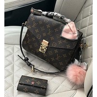 LV Louis Vuitton Trending Women Classic Stylish Leather Crossbody Satchel Shoulder Bag And Key Pouch I