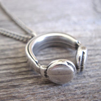Men's Necklace - Blackend Silver Plated Earphone Pendant - Mens Jewelry - Earphone Jewelry - Gift For Him