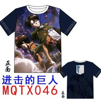 Cool Attack on Titan Cosplay Men T-shirt Anime  Cool Tops Eren Jaeger Cartoon Printing With Levi Ackerman Short-Sleeve for Gift AT_90_11