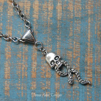 Snake and Skull Necklace,Gothic, Pirate, Dark Magic, Snake and Skull Jewelry