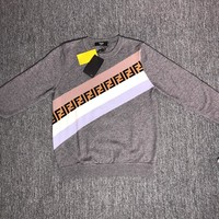 Fendi F striped color letter round neck collar knitted sweater