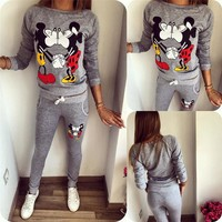 2PC Mickey & Minnie Mouse Long Sleeve Jump Suit Set