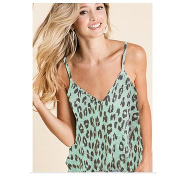 Limited Time Sale! Adorable Mint Leopard Hacci Sleeveless Top