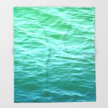 Teal Sea Throw Blanket by Lisa Argyropoulos | Society6