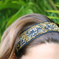 Luxe Beaded Headband in Black