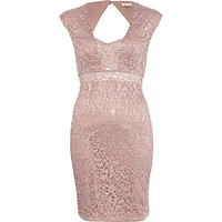 Pink lace insert bodycon dress