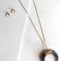 Horn Necklace and Earring Set in Black