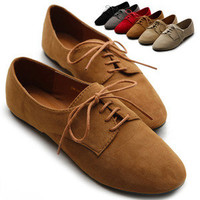 ollio Womens Ballet Flat Shoes Faux Suede Lace Ups Multi Colored Oxford