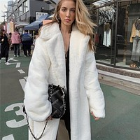 Fashion solid color cardigan long coat female Hairy antler warm coat