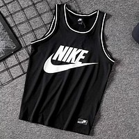NIKE Summer Popular Men Casual Print Sport Mesh Sleeveless Vest Top T-Shirt Black