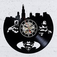 Vinyl Record Wall Clock Super Hero Gift Idea for Adults