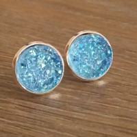Druzy earrings- Lt blue drusy silver tone stud druzy earrings