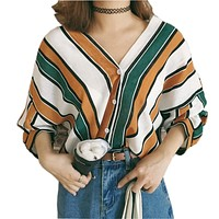 OYDDUP  autumn  fashion Multi-color striped shirts Sexy V-neck Button Batwing Sleeves Tops Casual Loose Casual Blouse
