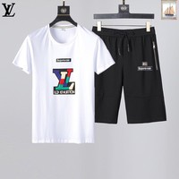 LV Men and Women Fashion Black Leisure Tracksuit Two Piece Suit Set created