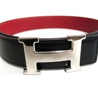Auth HERMES H Belt Black Silver Leather & Metallic Material Square B Belts