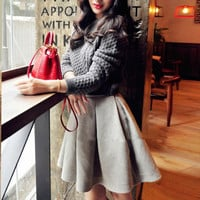 Gray Long Sleeve Sweater with Skirt