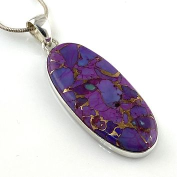 Purple Copper Turquoise Sterling Silver Oval Pendant