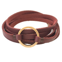 Trend Set Leather Wrap Bracelet in Burgundy