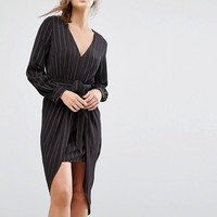 Parallel Lines Tie Front Long Sleeve Dress In Pinstripe at asos.com