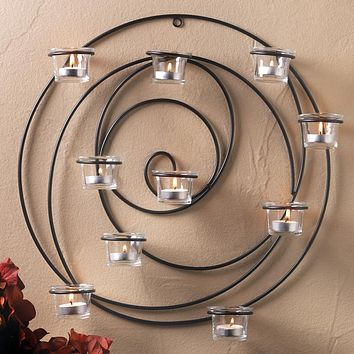 Endless Circles Iron Candle Wall Sconce