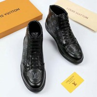 LV Louis Vuitton Autumn and winter classic old flower tie men's high-top casual shoes F-OMDP-GD black