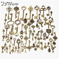 DIY 1 Set of 70 Antique Retro Vintage Old Look Bronze Keys Fancy Heart Bow Pendant Metal Craft Handmade Accessories Collection