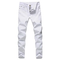 2017 Men Stretch Jeans Fashion white Denim Trousers For Male Spring And Autumn Retro Pants Casual Men's Jeans size 27-36