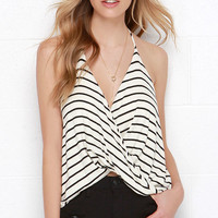 Dapperly Draped Black and Cream Striped Halter Top