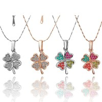 Stylish Jewelry New Arrival Shiny Gift Leaf Crystal Korean Couple Lock Accessory Necklace [9122232135]