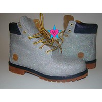 Custom Space Silver Glitter Timberland Boots