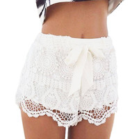 White Crochet Lace Shorts with Knot Detail