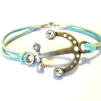 Anchor Bracelet, Turquoise Blue Suede Bracelet, Nautical Anchor Jewelry, For The Beach, Summer Accessories, Nautical Bracelet, Blue Bracelet