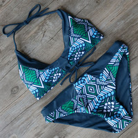 Beach Bathing Swimwear Print Bikinis Push Up Bikini