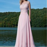 [79.99] Glamorous Chiffon & Tulle Bateau Neckline A-line Prom Dress with Beaded Lace Appliques - Dressilyme.com