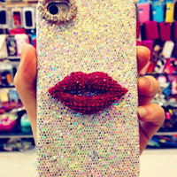Sexy Lips Glitter Crystal Phone Cover/Case for iPhone 5, 5S, 6, 6plus