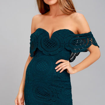 Bellissimo Teal Blue Lace Off-the-Shoulder Bodycon Dress
