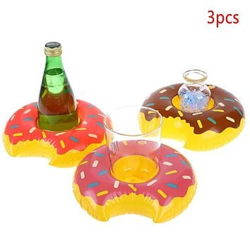 3pcs/lot Hot Donuts Inflatable Water Drink Floating Cup Holder Circle For Swimming Pool Party Decorations (3 donuts)