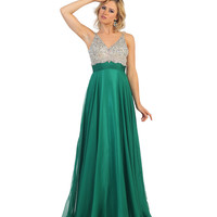 Green V-Neck Sequin Embellished A-Line Gown 2015 Prom Dresses