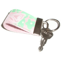 Tiny Key Ring Chain Fob made with Vintage Lilly Pulitzer fabric