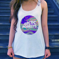 V.2 Arctic Monkeys Art Design Shirt Tank-Top White Ladies Size SMALL MEDIUM