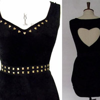 Black and gold studded crushed velvet dress with cut out heart back and tulip shaped skirt