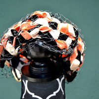 Vintage 1950s Woven Velvet Ribbon Hat - Black, orange, beige, union made,retro, vintage costuming, evening wear, movie prop,