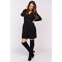 Mornings In Manhattan Faux Suede Trench Coat (Black)