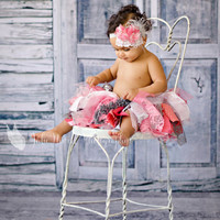 The Sallie - A Dizzy Lizzy Tutu Set. Baby Tutu and Headband Photo Prop, Birthday Outfit, or Dress-up Staple.