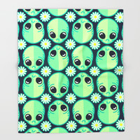 Sad Alien and Daisy Nineties Grunge Pattern Throw Blanket by Chobopop