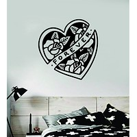 Heart Roses Forever Traditional Tattoo Decal Sticker Wall Vinyl Art Home Decor Room Bedroom Teen Kids