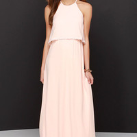 Dee Elle Hue Are Lovely Peach Lace Maxi Dress