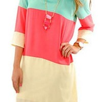 Multi Color Block Shift Dress