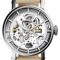Women's Fossil 'Original Boyfriend' Skeleton Dial Leather Strap Watch, 38mm - White/ Silver