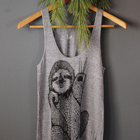 Peace Out Sloth - 5% Donated to Wildlife Conservation Network - womens racerback tank top - Sloth tank funny - by Bark Decor